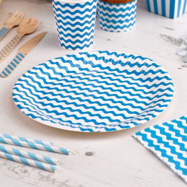 Carnival Blue Paper Plates - Waves (8)